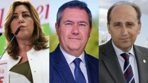 Los candidatos socialistas Susana Díaz, Juan Espadas y Luis Ángel Hierro.