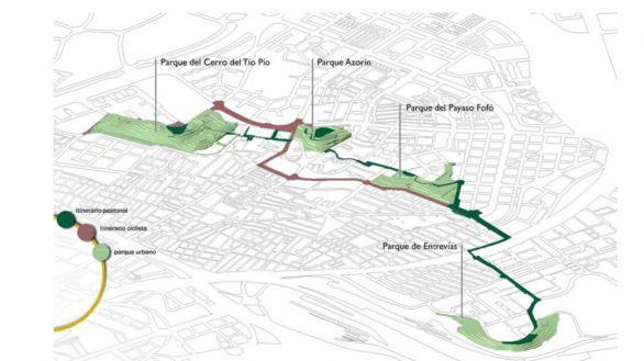 Así es el itinerario peatonal que conectará los miradores de Puente de Vallecas