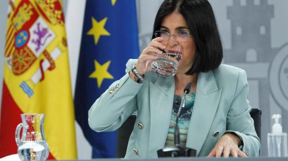 La ministra de Sanidad, Carolina Darias, durante la rueda de prensa de este miércoles.