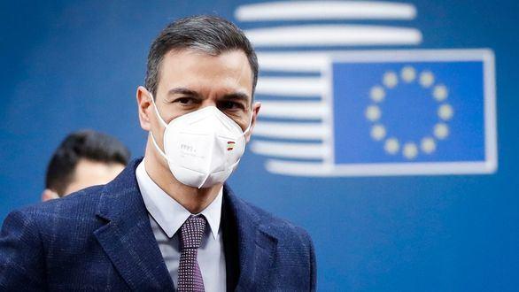 El presidente Pedro Sanchez a la salida del Consejo Europeo.