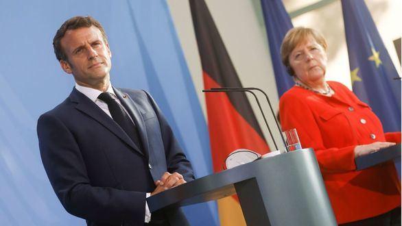 La canciller alemana, Angela Merkel, y el presidente francés, Emmanuel Macron.