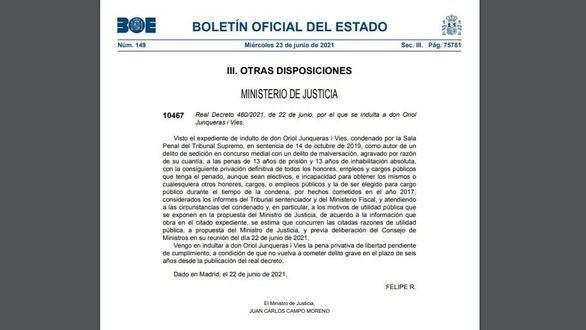 El BOE publica los indultos a los líderes separatistas del procés