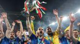 Italia celebra su victoria en la Eurocopa.