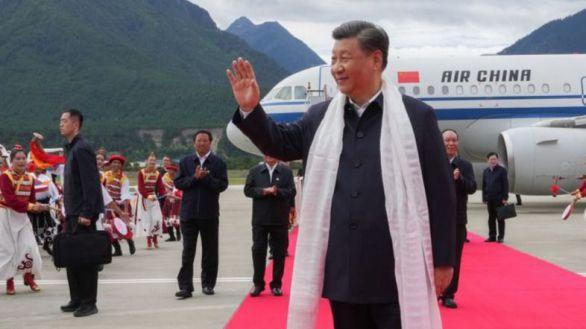 El presidente chino, Xi Jinping a su llegada al Tíbet.