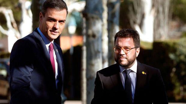 El presidente del Gobierno, Pedro Sánchez y el presidente de la Generalidad, Pere Aragonès.
