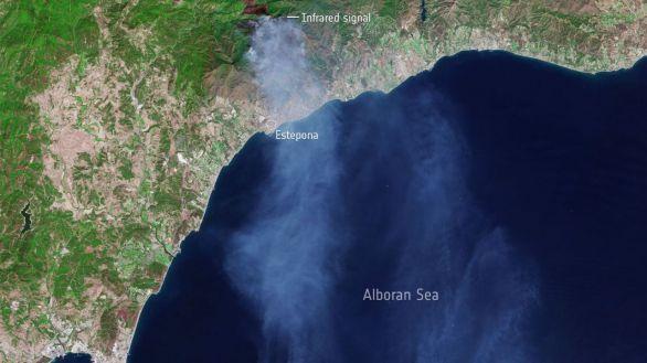 Así se ha visto desde el espacio el incendio que ha arrasado Sierra Bermeja