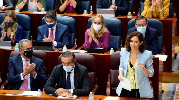 La presidenta de la Comunidad de Madrid Isabel Díaz Ayuso, durante el primer pleno de la Asamblea tras el perido estival.-