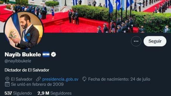 Nayib Bukele se presenta en Twitter como 'dictador de El Salvador'