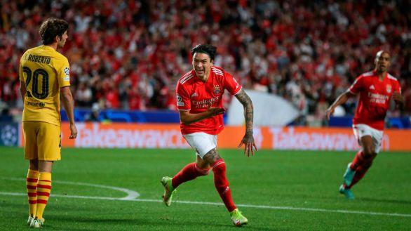El Barcelona se hunde ante el Benfica y ve peligrar su futuro en la Champions  3-0