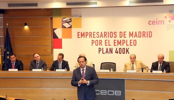 Los empresarios madrileños presentan un plan para crear 400.000 empleos en la región