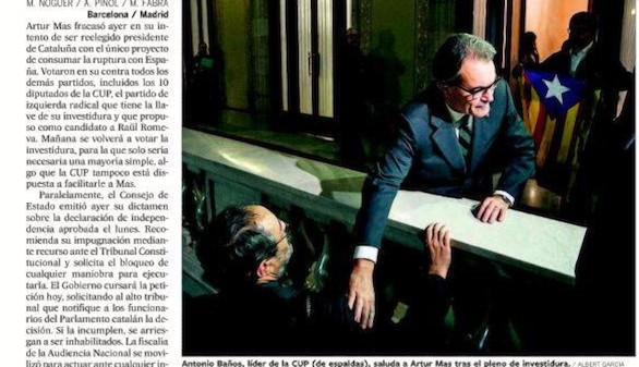 Fracaso de Artur Mas, con menos escaños que en 2012