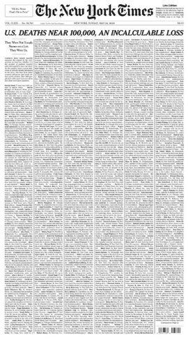 Los 100.000 muertos por coronavirus en Estados Unidos, en la portada de The New York Times