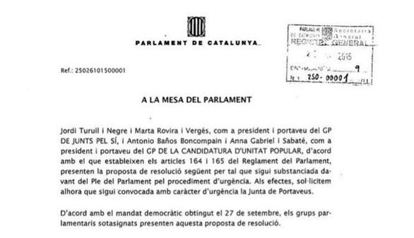 Los nueve puntos de la resolución independentista aprobada en el Parlamento catalán