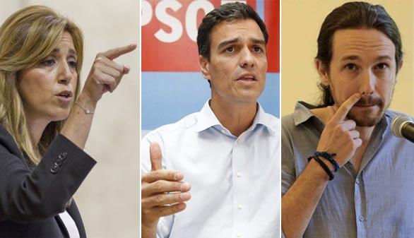 Resultado de imagen de Pedro Sánchez, susana diaz y Pablo Iglesias