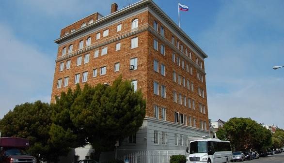 Edificio de la Federación rusa en la calle Green de San Francisco, que el país del este deberá abandonar antes del 2 de septiembre.