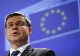Valdis Dombrovskis, vicepresidente de la Comisión Europea (CE) para el euro. Efe