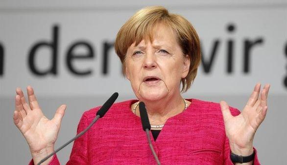 La canciller alemana Angela Merkel durante un acto de campaña esta semana