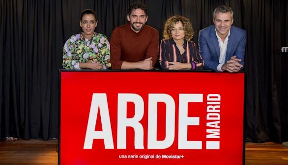 De izquierda a derecha: Inma Cuesta, Paco León, Anna R. Costa y Domingo Corral (director de ficción de Movistar+).