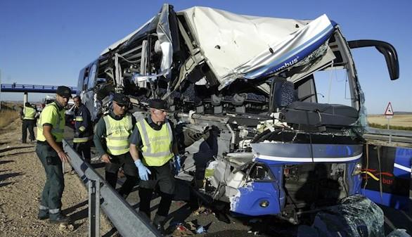 Un accidente de autobús en Soria deja un muerto y siete heridos graves