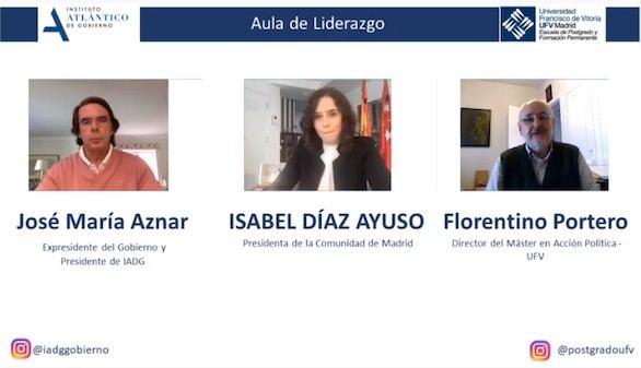 Aznar elogia a Ayuso frente a los insultos de