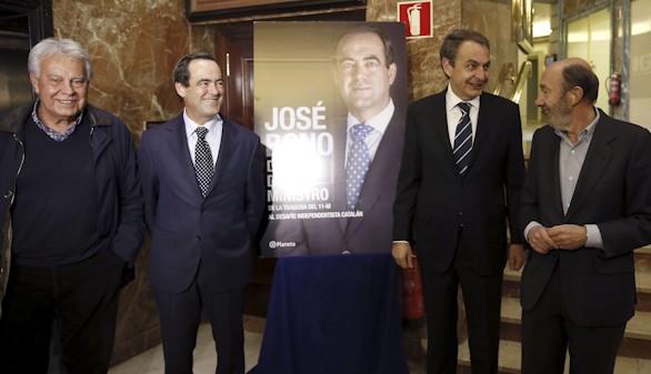 González, Zapatero y Rubalcaba arropan a Bono para presentar su libro