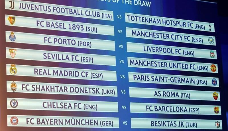 Octavos de la Champions: Sevilla-United, Real Madrid-PSG y Barça-Chelsea