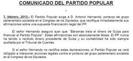 Comunicado del Partido Popular, recibido por EL IMPARCIAL.