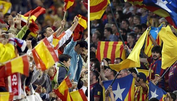 Una guerra de banderas en la final de la Copa del Rey