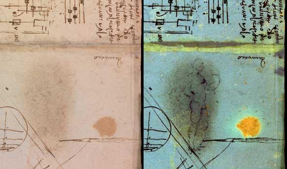 Hallado un dibujo oculto en uno de los cuadernos de anotaciones de Da Vinci