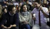 Íñigo Errejón, Irene Montero y Pablo Iglesias en Vistalegre II