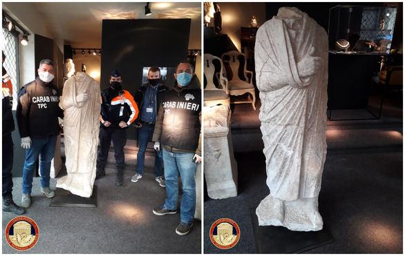 Dos policías italianos fuera de servicio hallan por casualidad en Bruselas una escultura romana del siglo I a.C