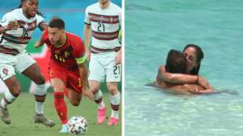 A la izquierda, Eden Hazard en el Bélgica-Portugal de Eurocopa. A la derecha, pasión entre Anabel Pantoja y Omar en 'Supervivientes'.
