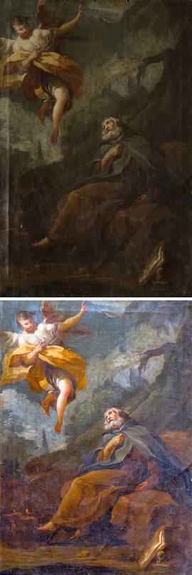 Antes y después de la restauración de 'El éxtasis de San Antonio Abad'