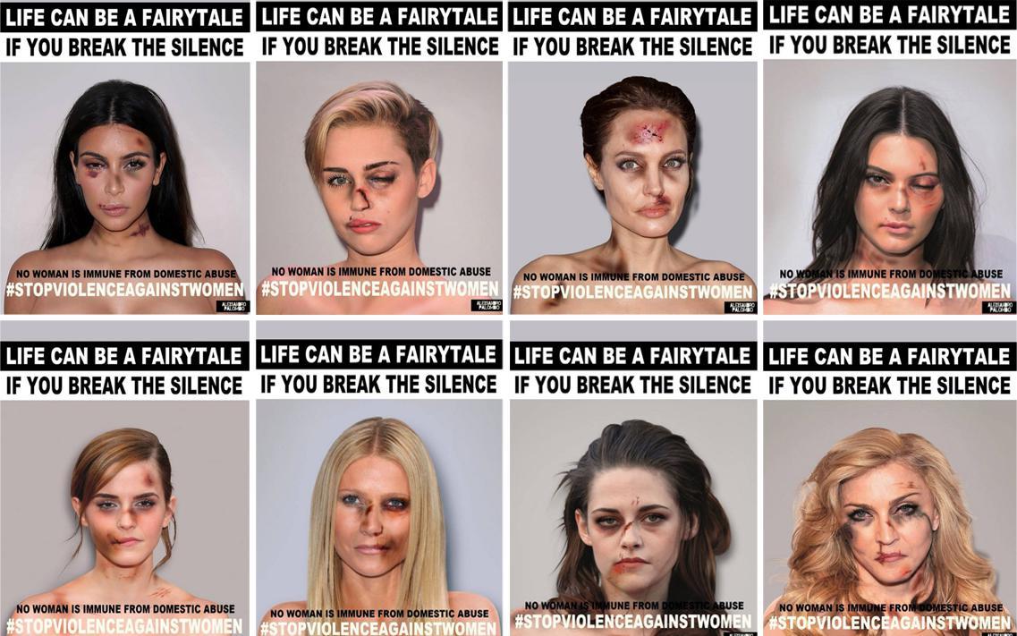 Un fotógrafo 'golpea' a famosas para concienciar sobre violencia de género