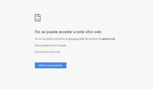 Las webs govern.cat y president.cat dejan de funcionar