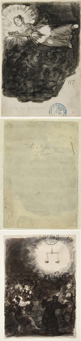 De arriba a abajo: 'Lux et tenebris', manuscrito de Goya y 'No a todos conviene lo justo'