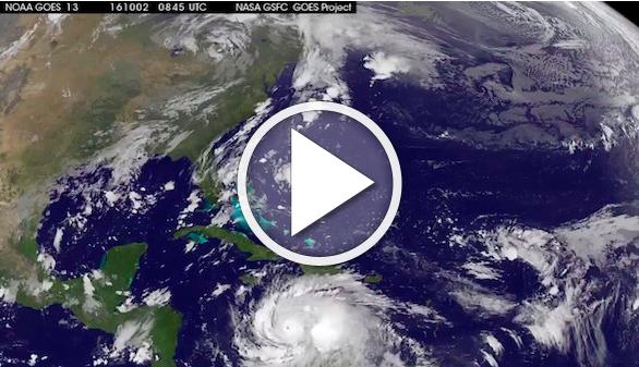 Así es el devastador huracán Matthew visto desde el cielo