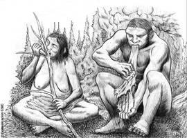 Recreación de dos individuos neandertales ayudándose de la boca para realizar tareas cotidianas. CSIC