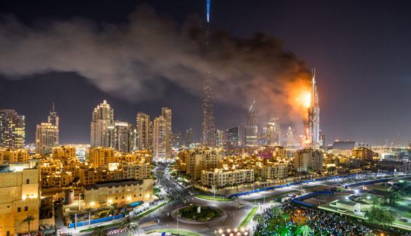 Un gran incendio en un hotel llena de humo el fin de año de Dubai