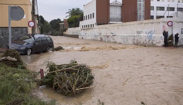 Inundaciones y destrozos a causa de las fuertes lluvias en Málaga