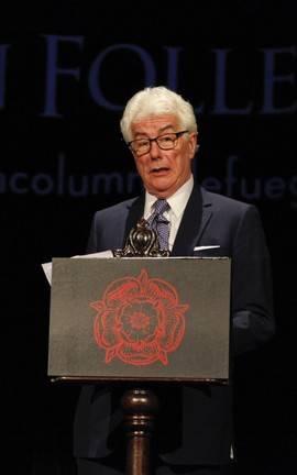Ken Follet durante la presentación de 'Una columna de fuego' este martes en Madrid