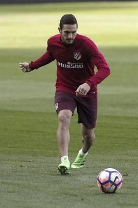 Koke, jugador del Atlético de Madrid, durante un entrenamiento el pasado lunes