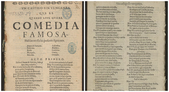Hallada una copia pirata de El castigo sin venganza, la última tragedia de Lope de Vega