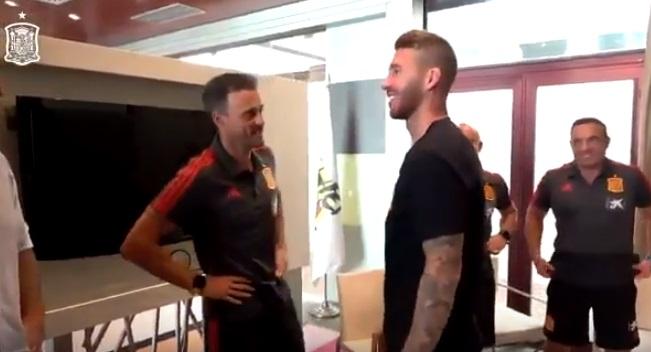 Primer encuentro entre Luis Enrique y Sergio Ramos