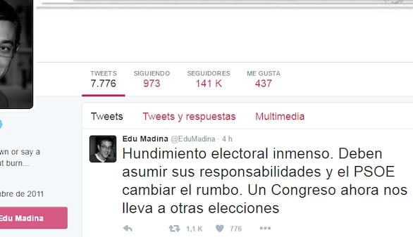 Tormenta de tuits de los socialistas contra Sánchez
