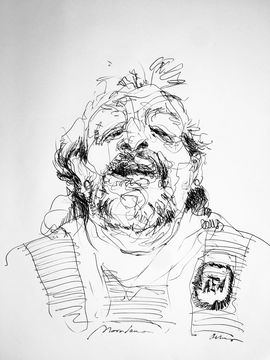 Caricatura de Maradona por Víctor Ochoa