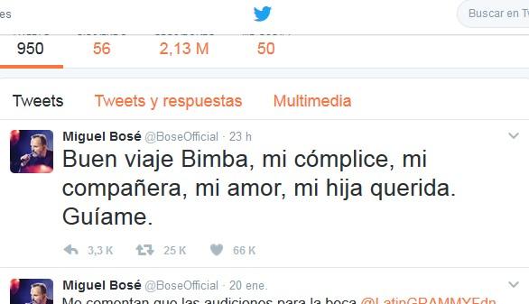 Los tuits del día: Miguel Bosé se despide de Bimba