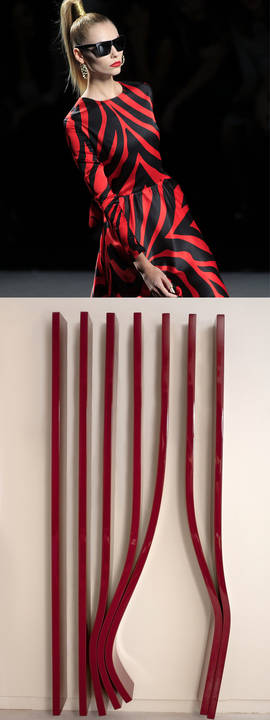 Arriba, desfile de María Escote en la Mercedes-Benz Fashion Week; abajo, obra de Santiago Villanueva que será expuesta en la galería Xavier Fiol en ARCOmadrid 2015