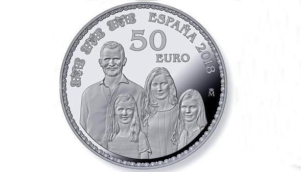 Las seis monedas que conmemoran el 50 cumpleaños de Felipe VI