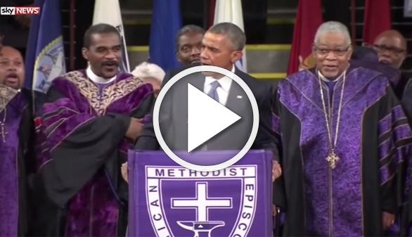 Obama canta 'Amazing Grace' en el funeral del senador asesinado en Charleston